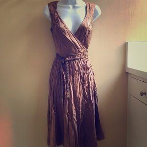 Tahari silk wrap dress, zipper needs repair